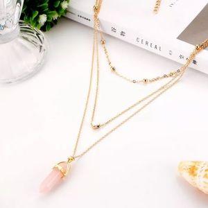 Jewelry - Pink Quartz Pendant Statement Necklace